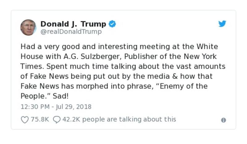 Donald J. Trump - Jul 29, 2018 tweet