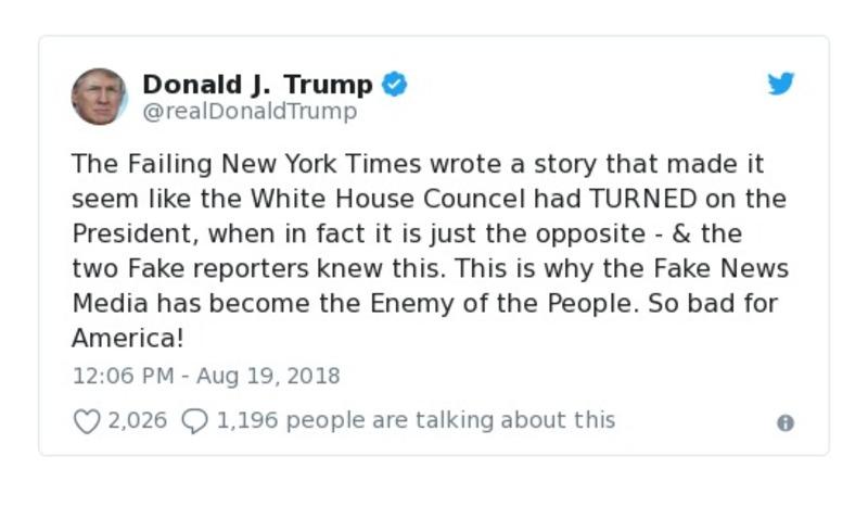 Donald J. Trump Aug 19, 2018 tweet