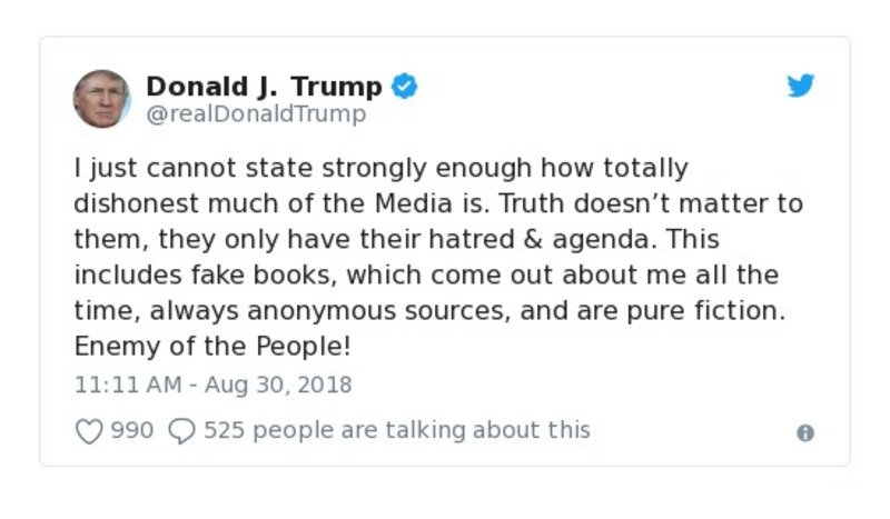 Donald J. Trump - Aug 30, 2018 - tweet