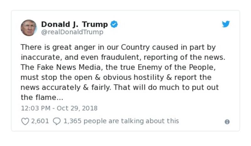Donald J. Trump Oct 29, 2018 - tweet