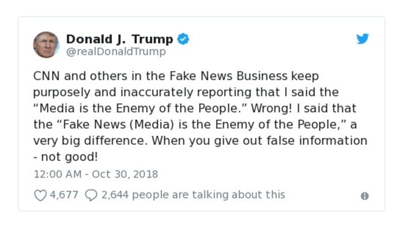 Donald J. Trump Oct. 30, 2018 tweet