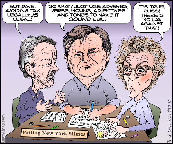 Russ Buettner, David Barstow, and Susanne Craig cartoon