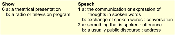 Define show and speech