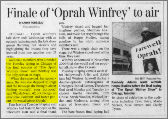 It was all about Oprah