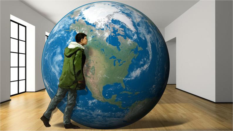 Earth shrunk down