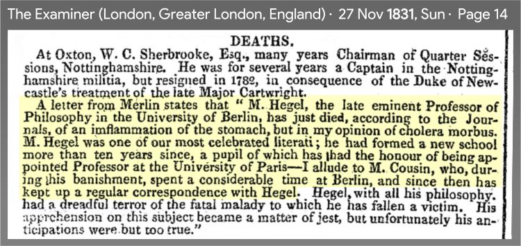 1831 press praising Hegel
