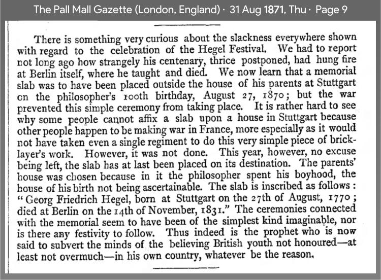 1871 press praise Hegel