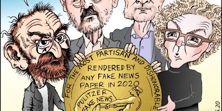 Russ Buettner, Susanne Craig, Mike McIntire, Joseph Pulitzer Caricature Cartoon