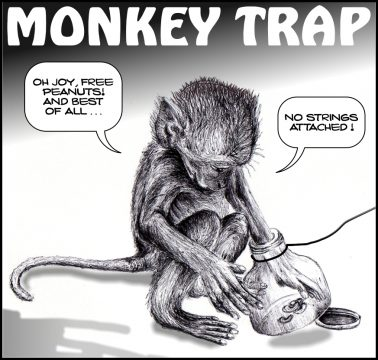 Monkey Trap – Republicans and their peanuts; guns and abortion
