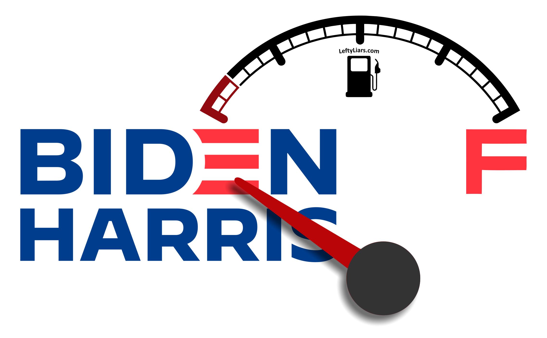 Biden Harris fuel gauge on empty